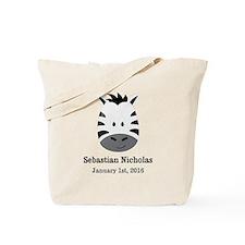 CUSTOM Zebra w/Name Date Tote Bag