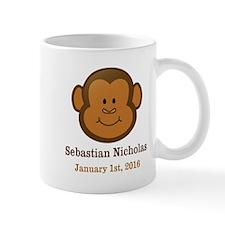 CUSTOM Monkey w/Baby Name and Birthdate Mugs