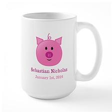 CUSTOM Pig w/Baby Name and Birthdate Mugs