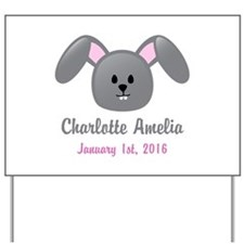 CUSTOM Bunny w/Baby Name and Birthdate Yard Sign