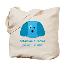 CUSTOM Puppy w/Baby Name and Birthdate Tote Bag