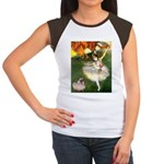Dancer 1 & fawn Pug Women's Cap Sleeve T-Shirt