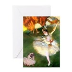 Dancer 1 & fawn Pug Greeting Card