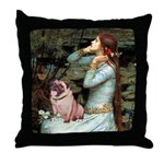 Ophelia / Fawn Pug Throw Pillow