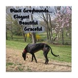 Elegant Black Greyhound Tile Coaster