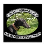 Elegance Unmatched - Black Greyhound Tile Coaster