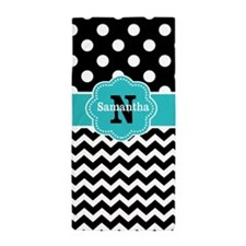 Black Teal Dots Chevron Personalized Beach Towel