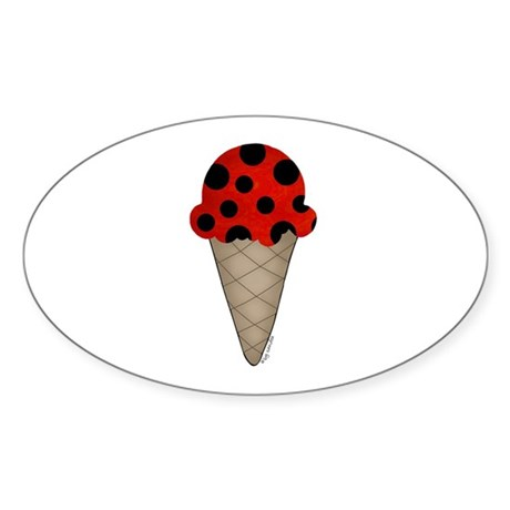 Lady bug cone Oval Sticker