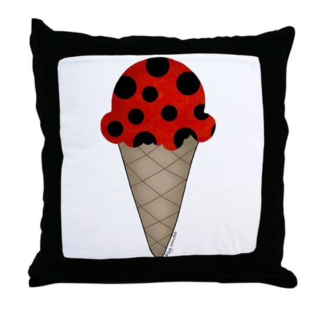 Lady bug cone Throw Pillow