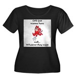 Girls want it. Women's Plus Size Scoop Neck Dark T