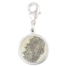 Vintage Map of Corsica (1794) Silver Round Charm