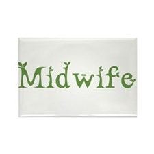 Midwife White Green Rectangle Magnet (100 pack)
