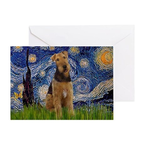 Starry Night & Airedale #6 Greeting Card