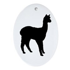 Standing Alpaca Oval Ornament