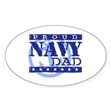 Proud Navy Dad Oval Decal