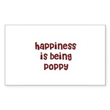 happiness is being Poppy Rectangle Decal