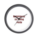 happiness is being Posy Wall Clock