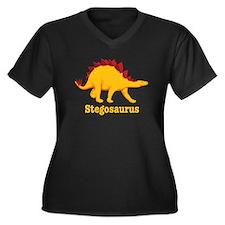 Stegosaurus Dinosaur Women's Plus Size V-Neck Dark