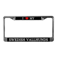Love Swedish Vallhunds License Plate Frame