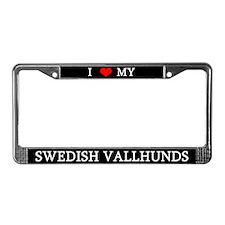 Love Swedish Vallhunds License Plate Frame