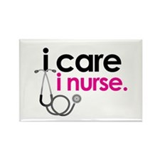 i care i nurse pink Rectangle Magnet (100 pack)