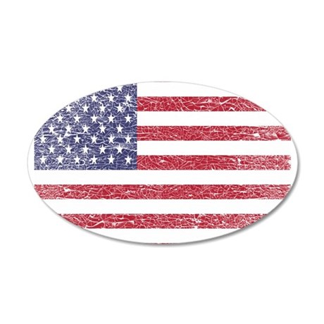 cracked American flag Wall Decal