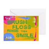 Brush Floss Rinse Smile Greeting Cards (Pk of 10)