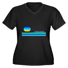 Nikolas Women's Plus Size V-Neck Dark T-Shirt
