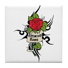 Customized Rose on Tattoo Background Tile Coaster
