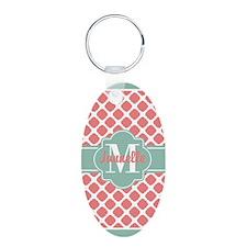Mint Coral Quatrefoil Custo Keychains
