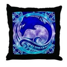 Dolphin & 4 Winds Throw Pillow
