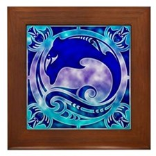 Dolphin & 4 Winds Framed Tile