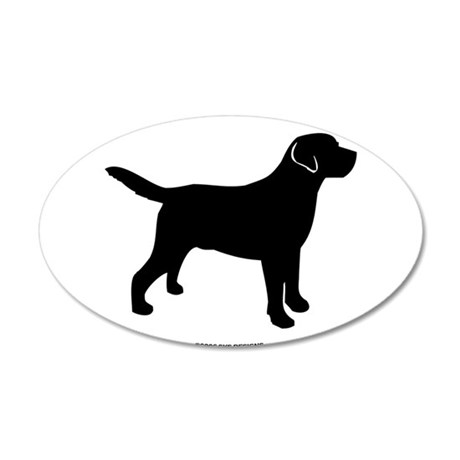 Black Lab Outline 35x21 Oval Wall Decal