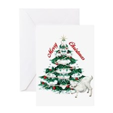 Goat-Christmas Tree and Kid Greeting Card