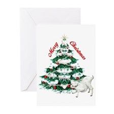 Goat-Christmas Tree and Kid Greeting Cards (Pk of