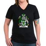 Wolley Family Crest Women's V-Neck Dark T-Shirt