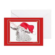 Goat Christmas Angora HoHoHo Greeting Cards (Pk of