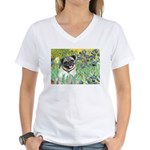 Irises / Pug Women's V-Neck T-Shirt