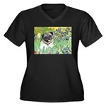 Irises / Pug Women's Plus Size V-Neck Dark T-Shirt