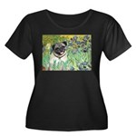 Irises / Pug Women's Plus Size Scoop Neck Dark T-S