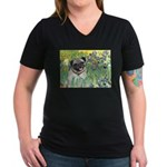 Irises / Pug Women's V-Neck Dark T-Shirt