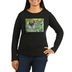 Irises / Pug Women's Long Sleeve Dark T-Shirt