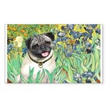 Irises / Pug Sticker (Rectangle)