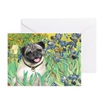 Irises / Pug Greeting Cards (Pk of 10)