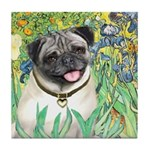 Irises / Pug Tile Coaster