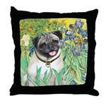Irises / Pug Throw Pillow