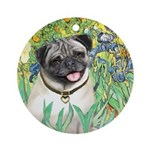 Irises / Pug Ornament (Round)