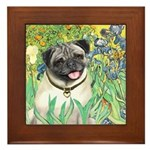 Irises / Pug Framed Tile