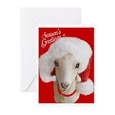 Goat- LaMancha Santa Greeting Cards (Pk of 10)