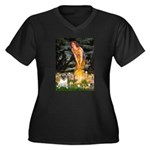 Fairies & Pug Women's Plus Size V-Neck Dark T-Shir